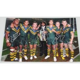 BRONCOS / KANGAROOS x 7 Hand Signed 'RARE' 8'x12' Photo Lockyer,Hunt,Petro,Hodges