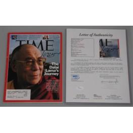 Dalai Lama Hand Signed TIME Magazine  + JSA  COA
