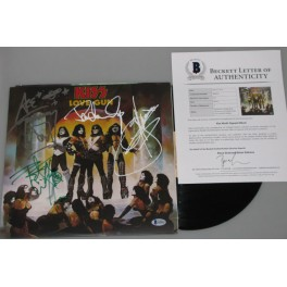 KISS x 4 Original Members Hand Signed 'Love Gun ' Lp   + Beckett PSA COA   BUY GENUINE