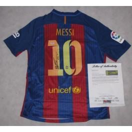 LEO MESSI Hand Signed Barcelona Jersey + PSA/DNA