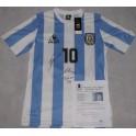 LEO MESSI & MARADONA  Hand Signed Argentina Jersey + PSA/DNA