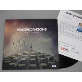 IMAGINE DRAGONS x 4  Members Hand Signed 'Night Visions' Lp   +  PSA COA   BUY GENUINE